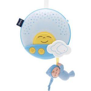 Игрушка подвесная на кроватку CHICCO Звездный ночник-проектор (голубой)