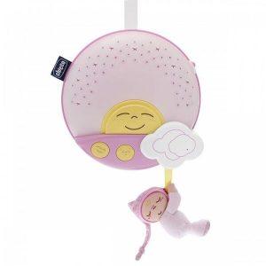Игрушка подвесная на кроватку CHICCO Звездный ночник-проектор (розовый)
