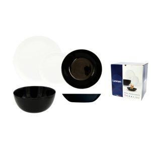 Набор столовый 19 предметов LUMINARC DIWALI (10P4360 ) черно-белый
