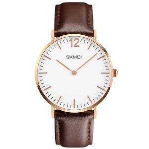 Наручные часы Skmei 1181C (коричневый кожаный ремень)