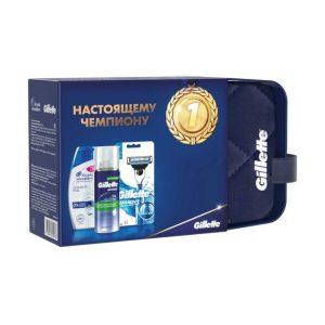 Подарочный набор Gillette Бритва Mach 3 Start с 1 сменной кассетой + Пена для бритья Sensitive Skin с алоэ 100 мл + Шампунь Head&Shoulders Основной уход 200 мл + Косметичка (7702018530168)