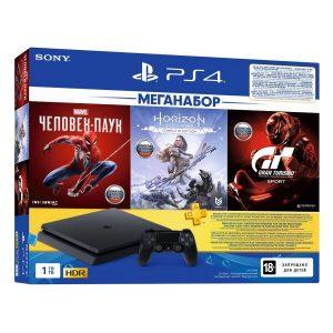 Игровая приставка PlayStation 4 (PS4) 1TB в комплекте с 3 играми (Spider Man