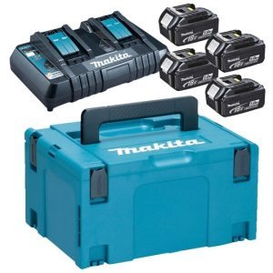 Набор MAKITA: Комплект аккумуляторов BL1850B + зарядное устройство DC18RD в кейсе (198312-4)
