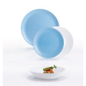 Набор столовый 18 предметов LUMINARC DIWALI (10P5911) бело-голубой