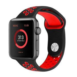 Ремешок Apple Nike 44 мм (черный/ красный)