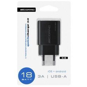 Сетевое зарядное устройство ATOMIC U150 (черный)