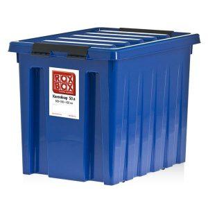Контейнер на роликах универсальный с крышкой ROX BOX  50 л синий