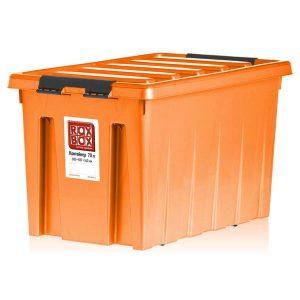 Контейнер на роликах универсальный с крышкой ROX BOX  70 л оранжевый