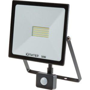 Прожектор светодиодный с датч. движ.  50 Вт ЮПИТЕР JP1202-50